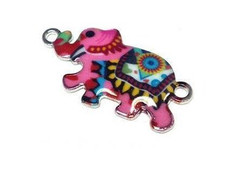 Bohemian pink enameled elephant connector.