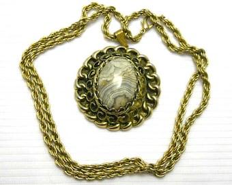 Grey Stone Gold Tone Pendant Vintage Necklace