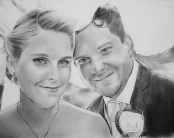 custom portrait of couple, custom couple illustration, save the date drawing, unique wedding anniversary gift for couples, original drawing