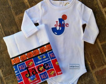 Baby girl or boy University of Kansas onesie and burp cloth set with embroidered name
