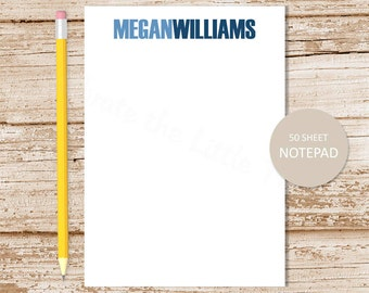 personalized notepad . name note pad . block name notepad . personalized stationery . bold name stationary . two tone name