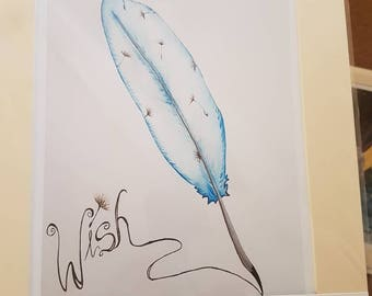 Wish Feather Mounted Print