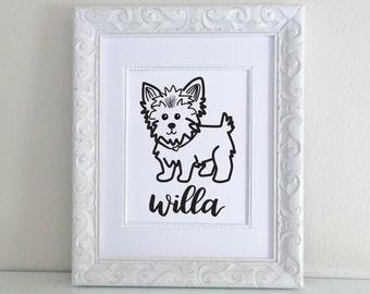 Personalized Pet Name Yorkie Print- Yorkshire Terrier, yorkie art print, Custom Name, Hand Lettered, Brush Lettering, Hand Lettering