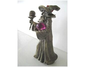 WIZARD Figurine * SKULL And Purple GLOBE