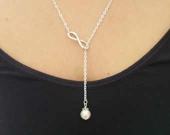 silver lariat necklace - silver necklace - ivory pearl necklace - infinity necklace