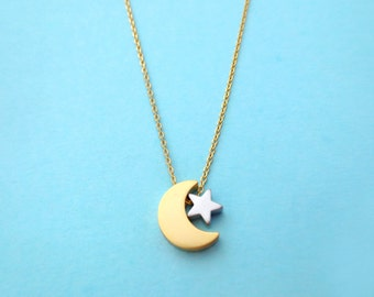 Gold crescent moon and tiny silver star, Gold chain, Necklace, Birthday, Friendship, Mom, Sister, Gift, Jewelry