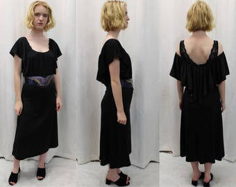 70s vintage black stretch polyester body con dress with attached caplet size medium