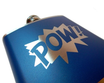 POW Comic Flask- whiskey, liquor, wedding, bridal party,- Personalized Custom - YOU pick COLOR