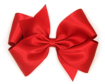 """Red Satin Hair Bow, 6 Inch Bow, Big Satin Bow, Extra Large Boutique Bow, King Size Bow, 6"""" Satin Hair Bow, Women, Teens, Girls 60 Colors"""