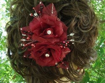 Rose Fascinator, Burgundy Rose, Wedding Hair Rose, Wedding Accessory, REX16-403