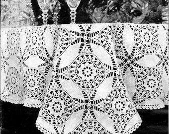 Cathedral Window Tablecoth Crochet Pattern 723092
