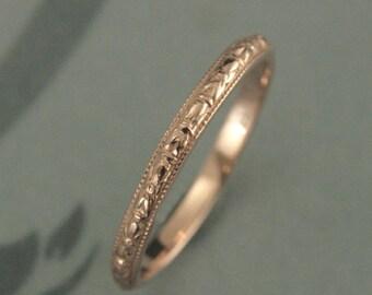Rose Gold Ring~Rose Gold Band~Gold Wedding Ring~Gold Wedding Band~Thin Renaissance~Women's Wedding Band~Women's Wedding Ring~Orange Blossom