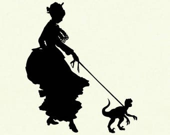 Silhouette Girl Lady with Pet Dinosaur Velociraptor Victorian Steampunk art print SMALL