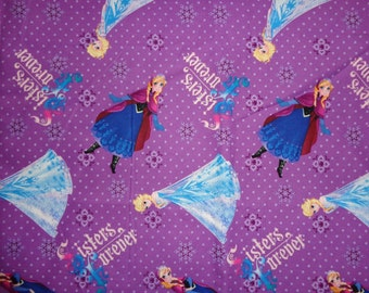 Purple Frozen Sisters Forever Cotton Fabric by the Yard