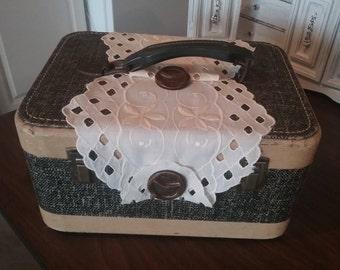 Repurposed Suitcase / Vintage leather suitcase / Upcycled Luggage / Mid Century Suitcase / Antique luggage/ Shabby chic suitcase / Luggage