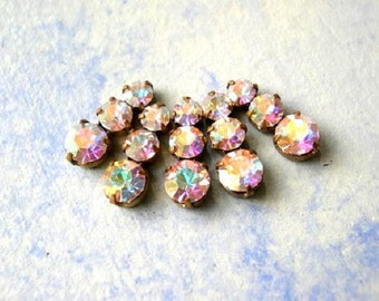 5 Vintage Swarovski jewelry findings 3 rhinestone crystals in brass setting