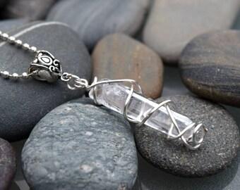 Quartz Point Silver Floral Necklace