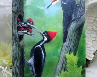 Woodpeckers Original Design Greeting Card Bird family tree baby mother father green red grey wildlife forest woods