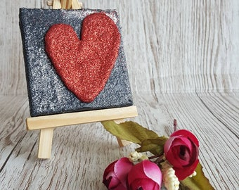 Glitter Mixed Media mini canvas Original Abstract Artwork no. 3 valentine heart with easel