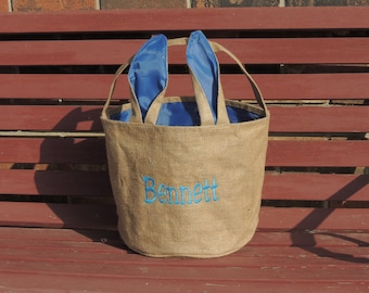 Monogrammed Easter Basket, personalized easter bucket, Burlap Bunny Ear Basket, Top Seller, Beach tote, Sand bucket