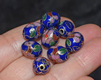 5 pearls metal cloisonné oval beads, blue, 9mm x 11mm