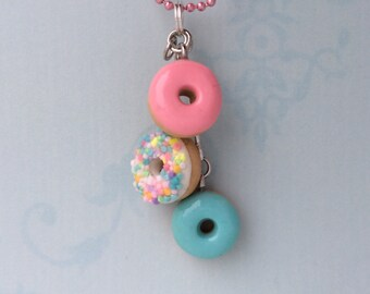 Cute mini pastel donut necklace - bakery charms - doughnut shop goodies
