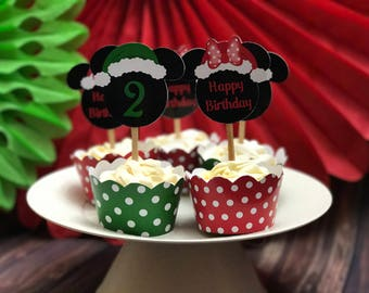 12 Personalized Mickey Christmas Cupcake Toppers