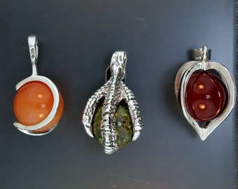 Cage pendants with 10mm gemstone bead in Sterling Silver