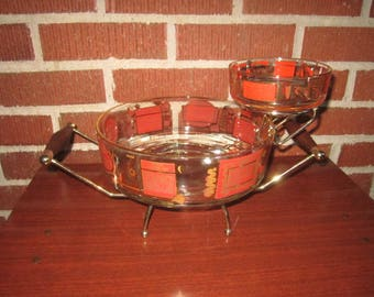 Vintage 1970s Modernist Tiered Glass Chip and Dip Serving Bowl Party Set