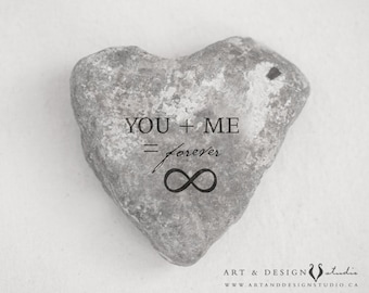 Stone Heart Art Print, Love Artwork, Rustic Art, Anniversary Gift, Boyfriend Husband Gift, You Me Infinity Sign Forever Photograph