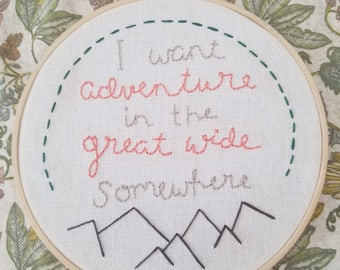 Adventure travel wanderlust- beauty and the beast Disney 7 inch embroidery