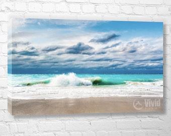 Beach canvas, ocean photography, white sand beach, beach wall art, Turks and Caicos, caribbean photo, teal, aqua, beach theme gift, print