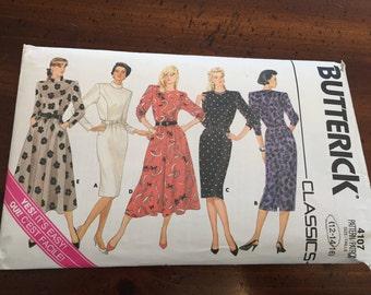 1980's  Butterick 4107 Dress Pattern - Size 12 - 14