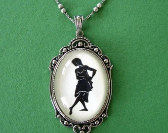 Silhouette Necklace, Pendant on Chain - ISADORA DUNCAN - Modern Dance Silhouette Jewelry