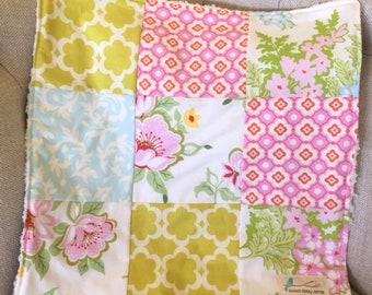 Baby Lovey Security Blanket Patchwork Faux Fur So soft!  Roses Pink Green Nursery Stroller Shower gift  OOAK