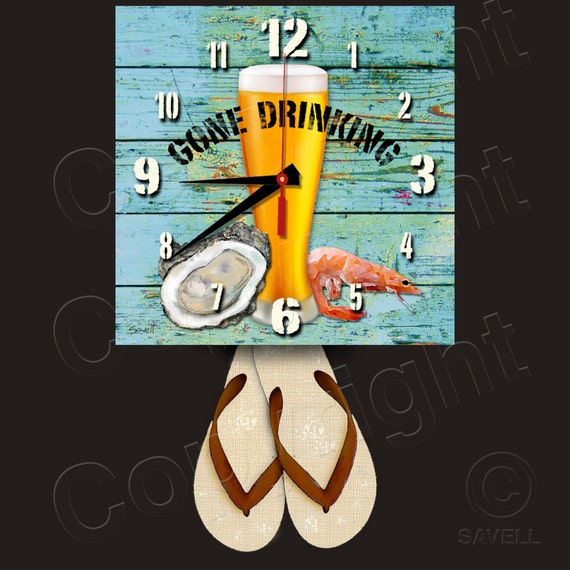 Gone Drinking Clock with Flip Flop Pendulum • Beer Clock