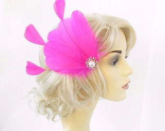 Hot Pink Silver Feather Fascinator Hair Clip Races Headpiece Vintage 1920s 4642