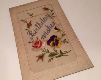 A beautiful french embroidered postcard wishing a happy birthday