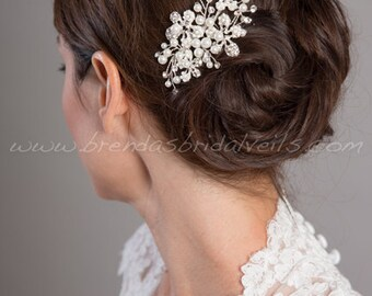 Wedding Hair Comb, Rhinestone and Pearl Bridal comb, Bridal Headpiece, Wedding Hair Accessory, Birdcage Fascinator - Whitney