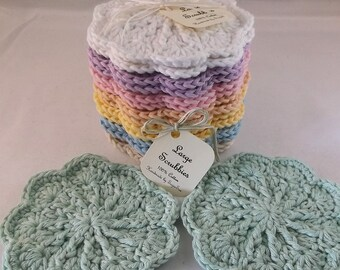 Crocheted Face Scrubbies Set Scrubbies And Wash Bag Set 100
