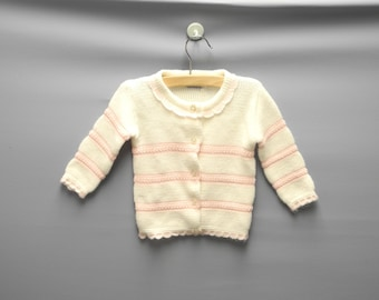 Vintage Baby Clothes, 1970's Ivory and Pink Baby Girl Sweater, Vintage Baby Sweater, Ivory Baby Sweater, Size 12-18 Months