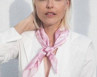 Pink 100% Silk Bandana scarf
