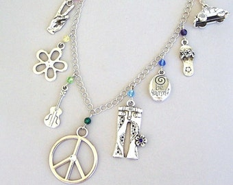 Peace necklace, hippie charm necklace, 1960s theme necklace, flower child, bell bottom jeans, love, peace sign, psychedelic