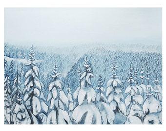 Winter Landscape Original Acrylic Painting, Landscape, Winter Blues