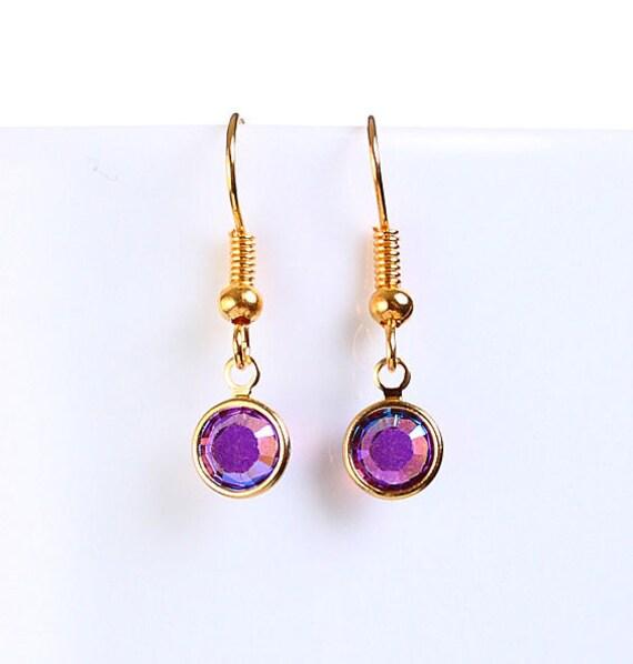 Bridesmaid gift - Petite Amethyst AB purple austrian crystal round gold dangle earrings (698)