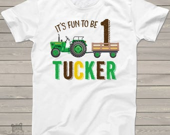First birthday green tractor personalized 1st birthday shirt shirt MBD-004