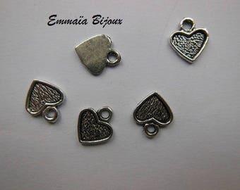 10 pendants 1 cm silver metal hearts