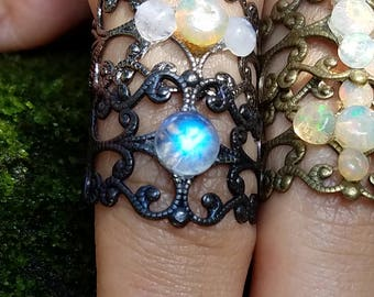 Magical Elvish Rainbow Moonstone Cabochon Adjustable Metal Ring / Boho Gypsy Blue