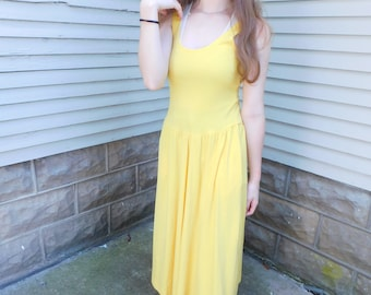 Sunshine Yellow Drop Waist Dress by OOPS California, 80's Fashion Sundress