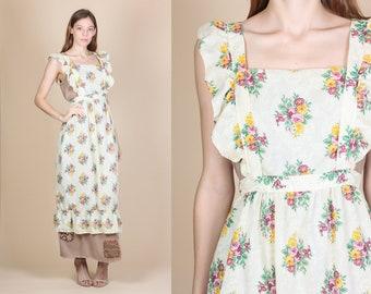 Vintage 70s Floral Pinafore Apron - One Size